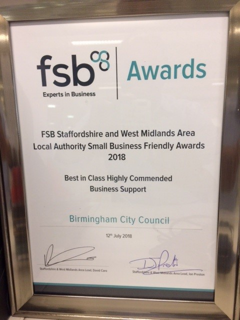 Image of fsb award to Birmingham City Council
